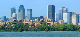 Montreal city skyline over river panorama Stock Photo