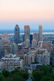 Montreal city skyline. At sunset viewed from Mont Royal with urban skyscrapers stock image