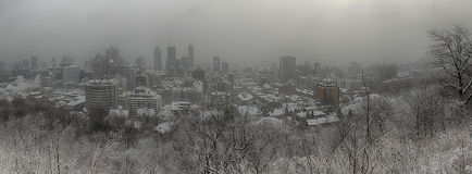 Montreal city during a snowstorm Stock Photo