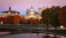Montreal city. View of Marche Bonsecours in Old port in Montreal, Quebec by a nice early morning during fall season Stock Photos