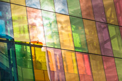 Montreal Convention Center colored windows reflections stock photo