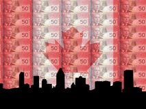 Montreal and currency. Montreal skyline with flag and currency of Canada Stock Photos