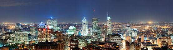 Montreal am Dämmerungspanorama Stockfotografie