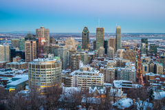 Montreal de stad in in de winter royalty-vrije stock afbeeldingen