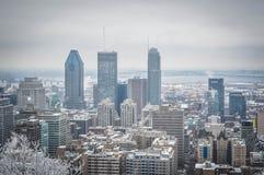 Montreal de stad in in sneeuw Stock Fotografie
