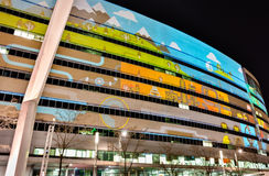 Montreal downtown illuminated building in night Stock Photography
