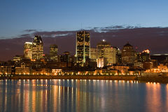 Montreal Downtown at Night. The Montreal downtown core viewed from across the river stock photography
