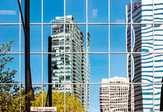 Montreal downtown reflections on Saint-Jacque street Royalty Free Stock Image