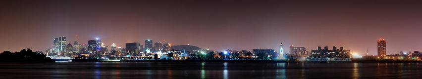 Montreal at dusk. Panorama of Montreal skyline at dusk Stock Image