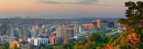 Montreal at dusk panorama stock photo