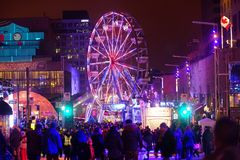 Montreal en Lumieres. Site of the Montreal en Lumieres festival Royalty Free Stock Photography