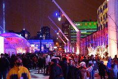 Montreal en Lumieres. Site of the Montreal en Lumieres festival Stock Image