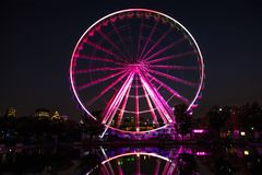 Montreal ferris wheel at night stock photography