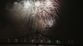 Montreal Fireworks at Night over the Bridge stock footage