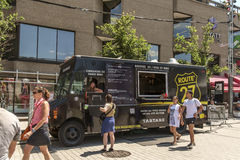 Montreal food trucks royalty free stock photography