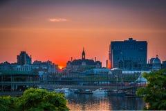 Montreal gammal port på solnedgången Fotografering för Bildbyråer
