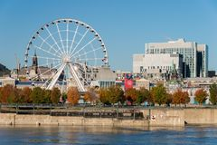 Montreal giant ferris wheel in the Old Port of Montreal, Quebec, Canada stock photography