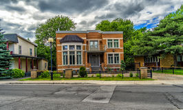 Montreal Gouin street view. House on Boulevard Gouin East Montreal,Quebec, Canada Royalty Free Stock Photo