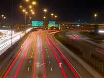 Montreal highway at the rush hour, long exposure Stock Photos