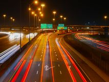 Montreal highway at the rush hour, long exposure Stock Image