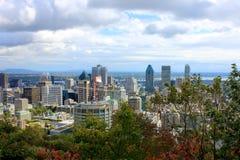 Montreal hinter den Bäumen von Parc Mont-Königlich stockfoto