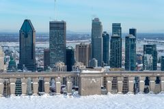 Montreal horisont från den Kondiaronk belvederen arkivbild