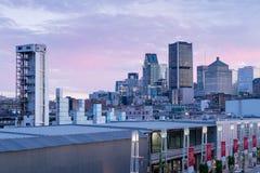 Montreal horisont från gammal port Arkivfoto