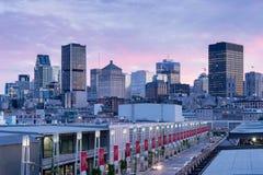 Montreal horisont från gammal port Royaltyfri Bild