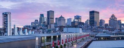 Montreal horisont från gammal port Royaltyfria Bilder