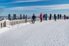 Montreal horisont i vintern 2018 Arkivfoton