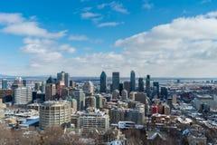 Montreal horisont i vintern 2016 Royaltyfri Foto