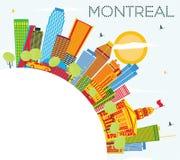 Montreal horisont med färgbyggnader, blå himmel och kopieringsutrymme royaltyfri illustrationer