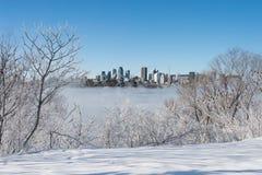 Montreal horisont och St Lawrence River i vinter Fotografering för Bildbyråer