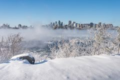 Montreal horisont och St Lawrence River i vinter Royaltyfri Foto
