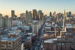 Montreal horisont på soluppgång arkivbilder