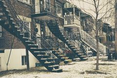 Montreal houses with external metal stairs Royalty Free Stock Photos