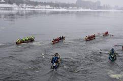 Montreal Ice Canoe Challenge Royalty Free Stock Photography