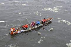 Montreal Ice Canoe Challenge Royalty Free Stock Photos