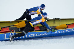 Montreal Ice Canoe Challenge. MONTREAL - FEBRUARY 23: Unidentified participants at the Montreal Ice Canoe Challenge on St. Lawrence River on February 23, 2013 in Stock Images