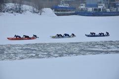 Montreal Ice Canoe Challenge Stock Photography