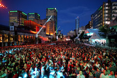 Montreal Jazz Festival. Crowd of people at the 2016 edition of the Montreal Jazz Festival Stock Photos
