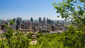 Montreal skyline from Mont Royal Mountain stock photography