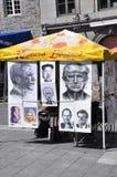 Montreal, am 26. Juni: Art Gallery Sketches vom Platz Jacques Cartier in der Mitte Ville von Montreal in Kanada Lizenzfreies Stockfoto