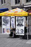 Montreal, am 26. Juni: Art Gallery Sketches vom Platz Jacques Cartier in der Mitte Ville von Montreal in Kanada Lizenzfreie Stockfotografie