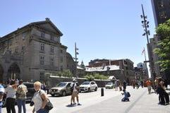 Montreal am 26. Juni: Legen Sie d-` Armes von Vieux Montreal in Kanada Stockbild