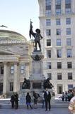 Montreal am 26. Juni: Monument von Maisonneuve von Platz D ` Armes von Vieux Montreal in Kanada Lizenzfreies Stockfoto