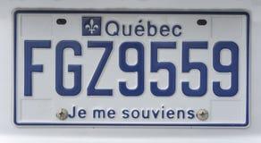 MONTREAL, KANADA - 22. AUGUST 2014: Blaues Kfz-Kennzeichen von Quebec, Kanada Ich erinnere mich Lizenzfreie Stockfotografie