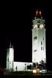Quai de l'horloge (Montreal tar tid på står hög), vid natten, Kanada Arkivbilder