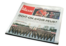 Montreal La Presse Newspaper Front Page Royalty Free Stock Images