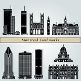 Montreal landmarks and monuments. On blue background in editable vector file Royalty Free Stock Photography